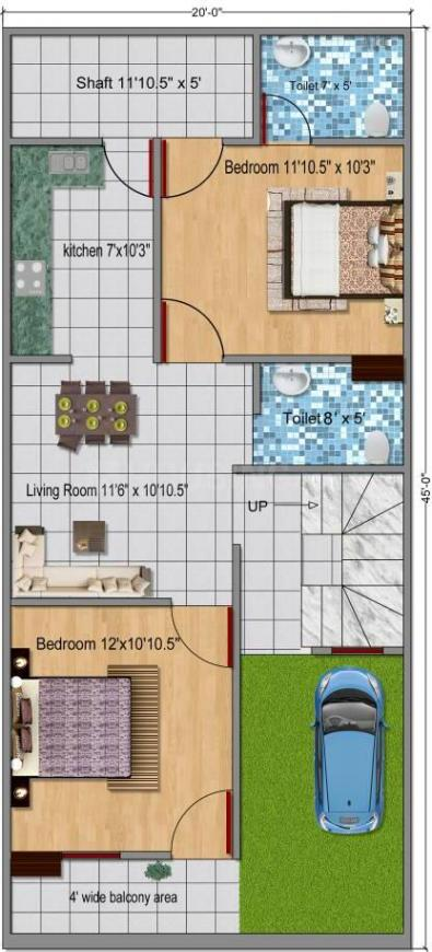 Mehak Eco City Villas Floor Plan: 2 BHK Unit with Built up area of 1018 sq.ft 1
