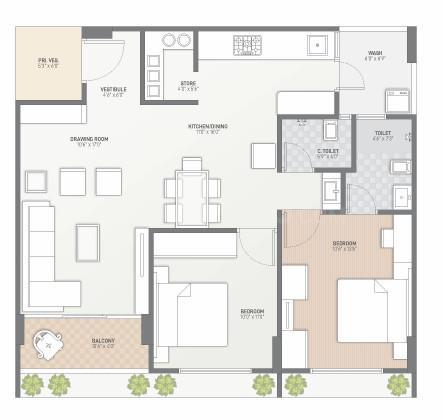 Shivansh Shivansh 108 Floor Plan: 2 BHK Unit with Built up area of 68.84 sq.mt 1