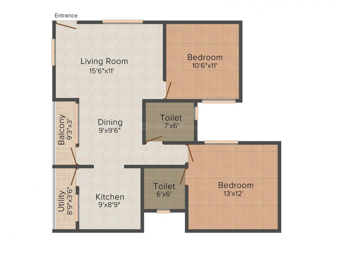 Floor Plan Image of 1060.0 - 1360.0 Sq.ft 2 BHK Apartment for buy in Milestone Calidad