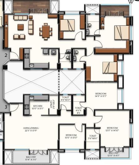 Pinnac Perinsheri Pinnac Greens Floor Plan: 3 BHK Unit with Built up area of 1283 sq.ft 1