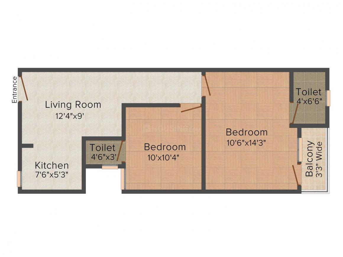 Floor Plan Image of 360 - 540 Sq.ft 1 BHK Independent Floor for buy in Kapil Radhey Apartments 3