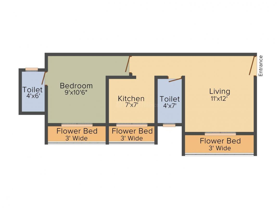 Floor Plan Image of 620 - 1050 Sq.ft 1 BHK Apartment for buy in Annapurna Villa