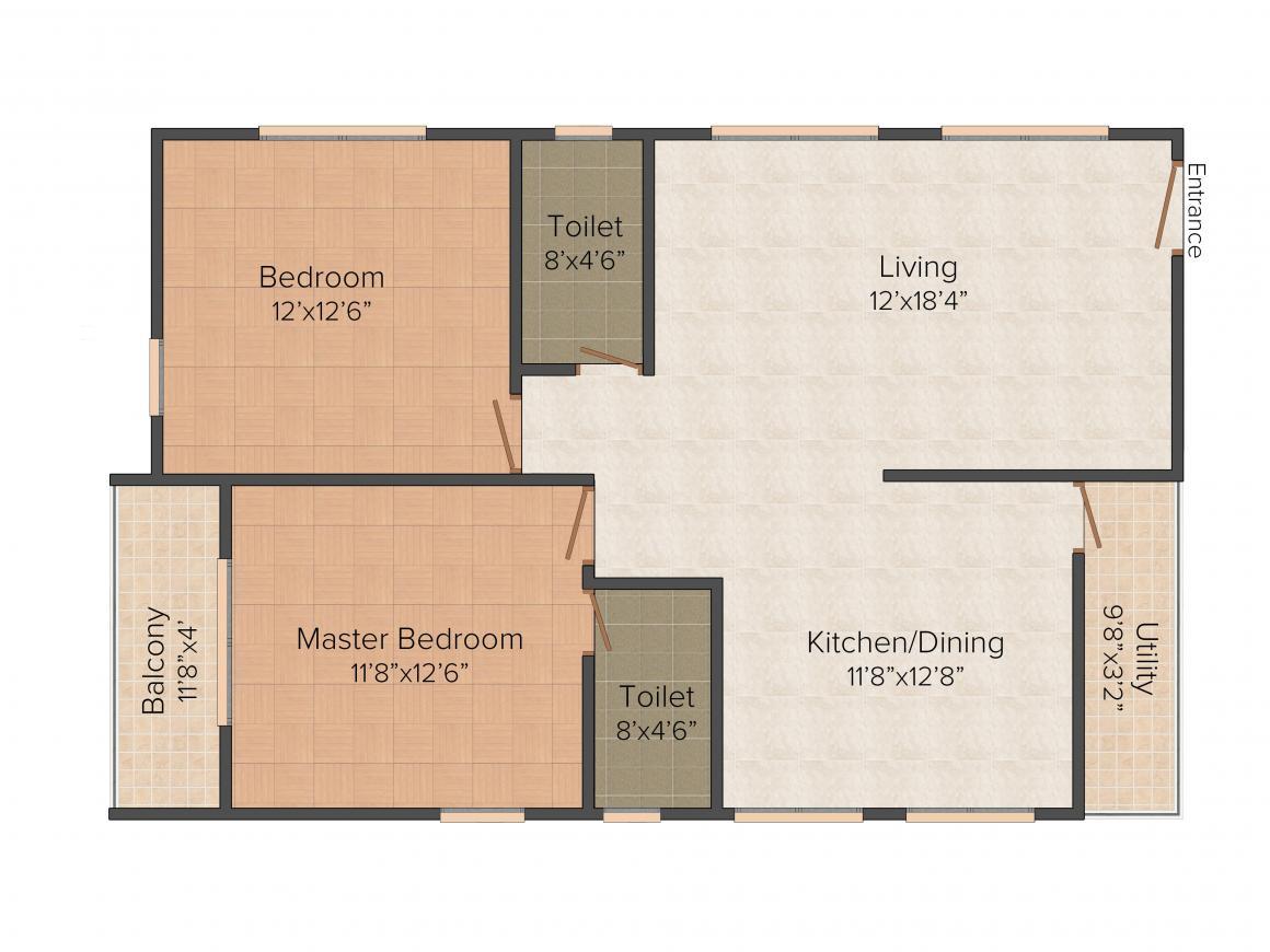 Floor Plan Image of 0 - 1180.0 Sq.ft 2 BHK Apartment for buy in Golden Golden Lake View