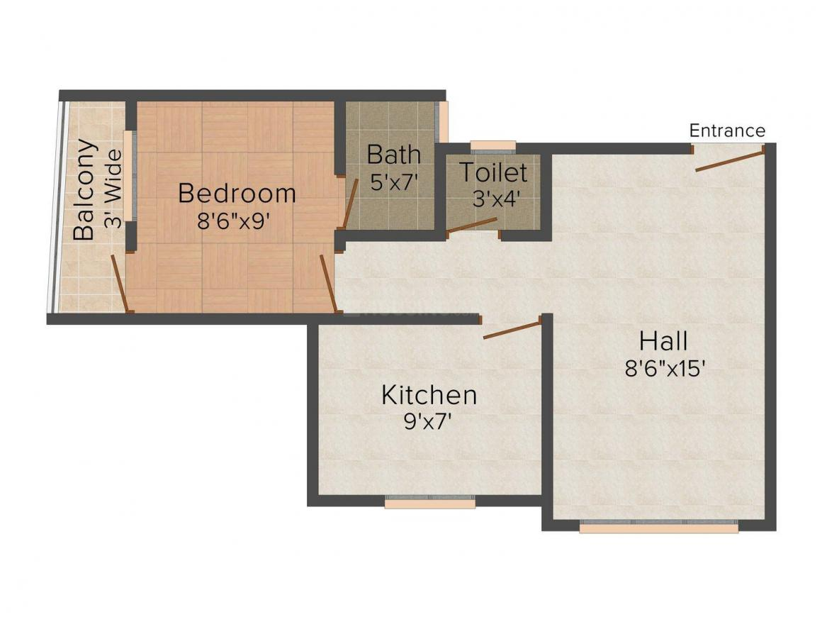 Floor Plan Image of 495 - 540 Sq.ft 1 BHK Apartment for buy in Vignharta Residency