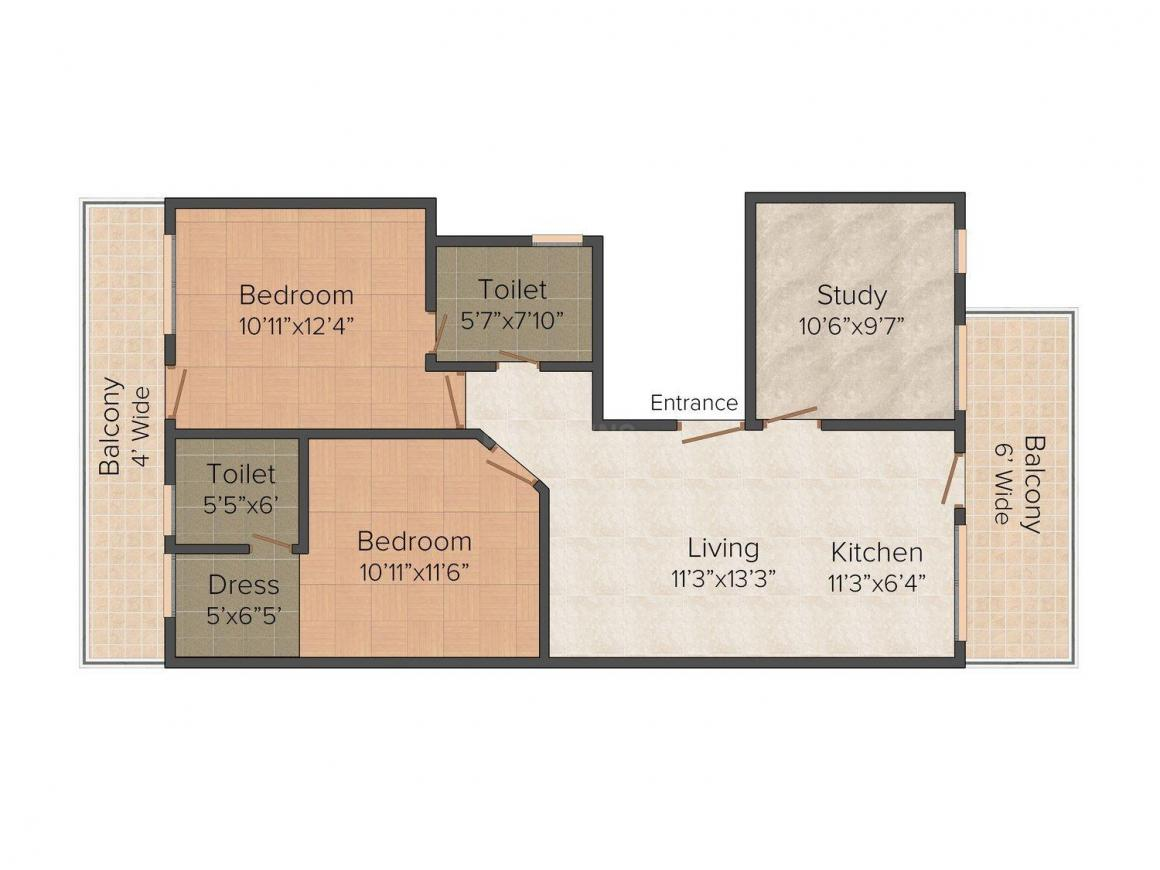 Floor Plan Image of 720.0 - 1260.0 Sq.ft 2 BHK Apartment for buy in Achievers Low Rise
