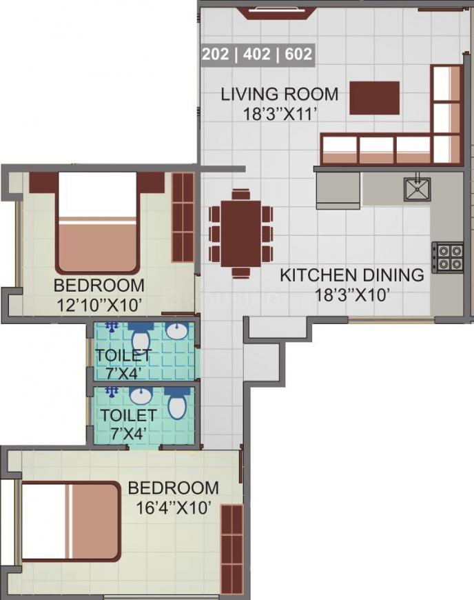 Khinvasara Aranyeshwar Park Phase II Floor Plan: 2 BHK Unit with Built up area of 769 sq.ft 1