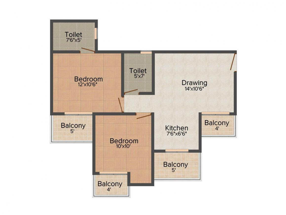 Supercity Miglani Bally Ha i Floor Plan: 2 BHK Unit with Built up area of 763 sq.ft 1