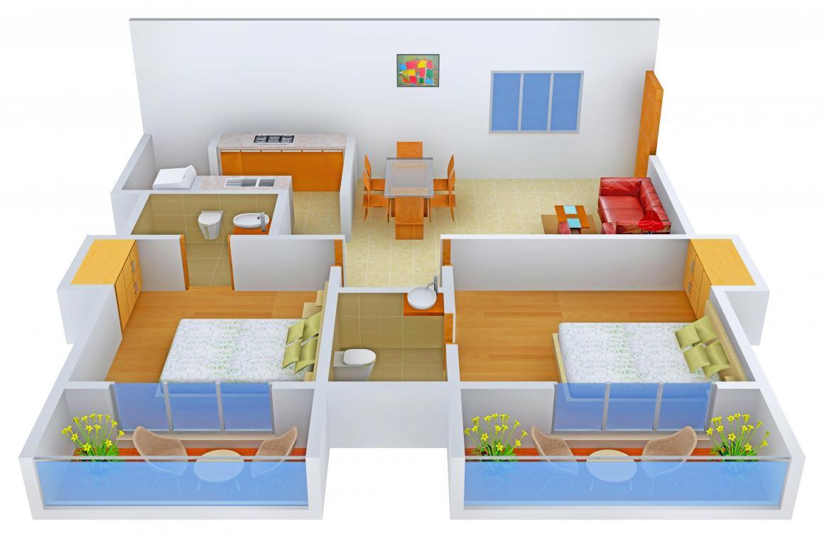 Floor Plan Image of 1115.0 - 1769.0 Sq.ft 2 BHK Apartment for buy in Sannidhi Whitestone Landmark