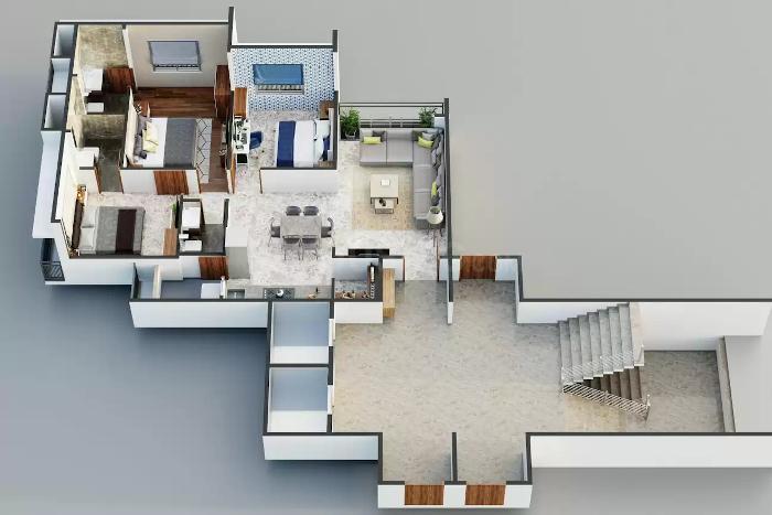 Aditya Greens Floor Plan: 3 BHK Unit with Built up area of 172 sq.yd 1