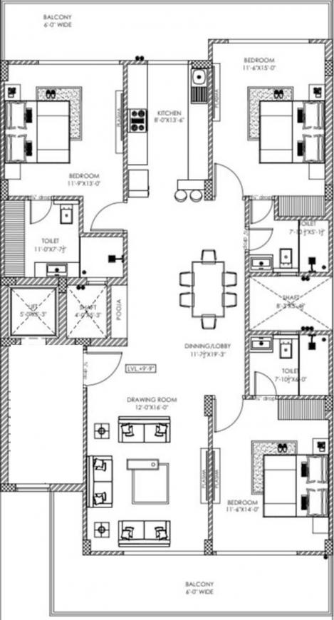 NXT Floors Floor Plan: 3 BHK Unit with Built up area of 1570 sq.ft 1