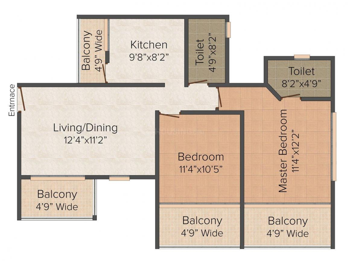 Floor Plan Image of 0 - 1098.0 Sq.ft 2 BHK Apartment for buy in Integral Micasa