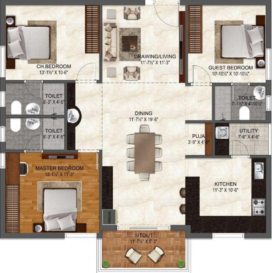 Ira Miracle Floor Plan: 3 BHK Unit with Built up area of 1655 sq.ft 1