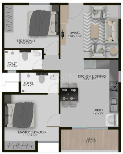 302 West Floor Plan: 2 BHK Unit with Built up area of 684 sq.ft 1