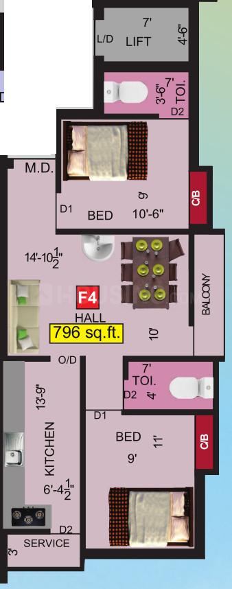 VGK Dharika Floor Plan: 2 BHK Unit with Built up area of 796 sq.ft 1