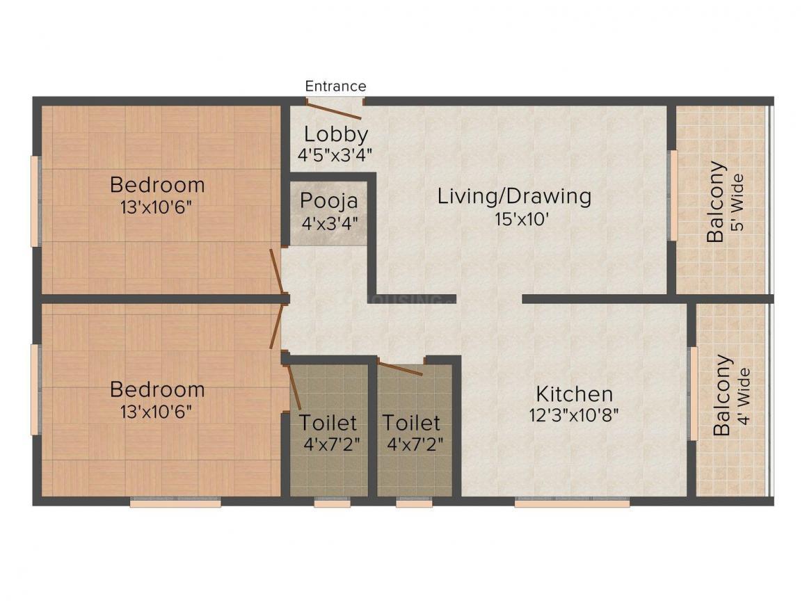 Floor Plan Image of 0 - 1005.0 Sq.ft 2 BHK Apartment for buy in Laxmi Sakshi Ganesh Heights