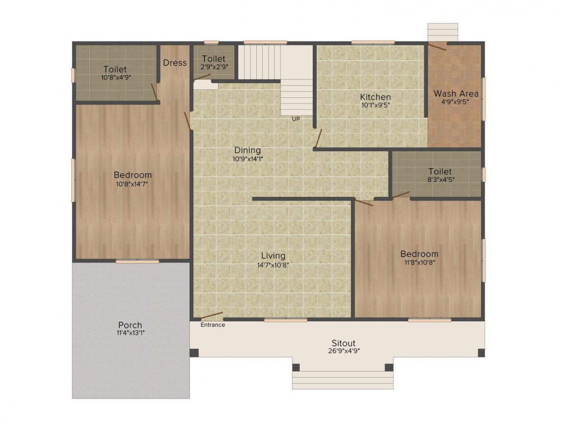 Mather Metro View Floor Plan: 4 BHK Unit with Built up area of 2300 sq.ft 2
