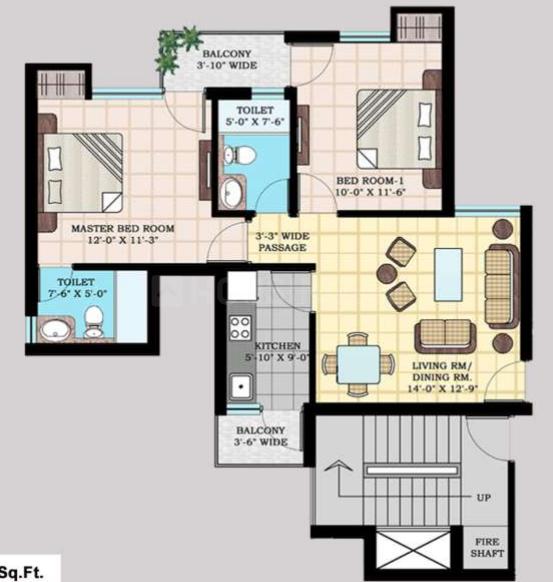 KLJ Platinum Plus Floor Plan: 2 BHK Unit with Built up area of 865 sq.ft 1