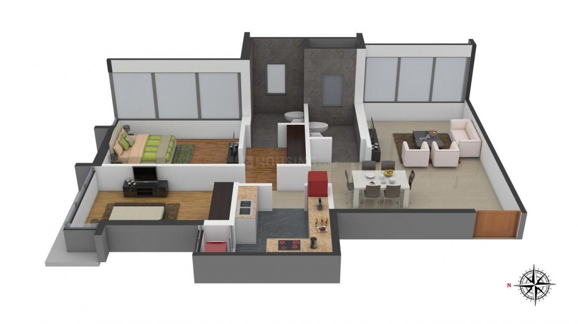 Floor Plan Image of 915.0 - 1231.0 Sq.ft 2 BHK Apartment for buy in Ahuja L'Amor