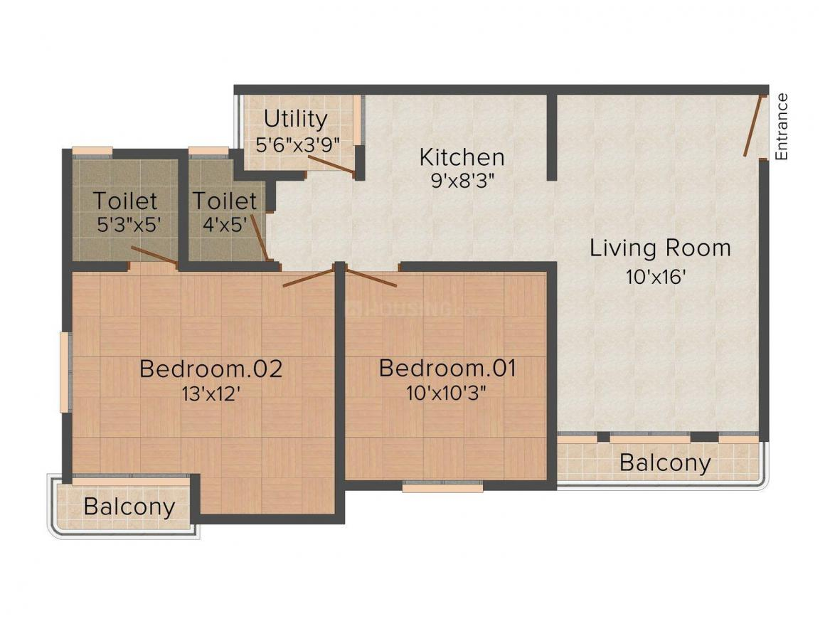 Floor Plan Image of 0 - 1000 Sq.ft 2 BHK Apartment for buy in Manorath Radhe Shyam