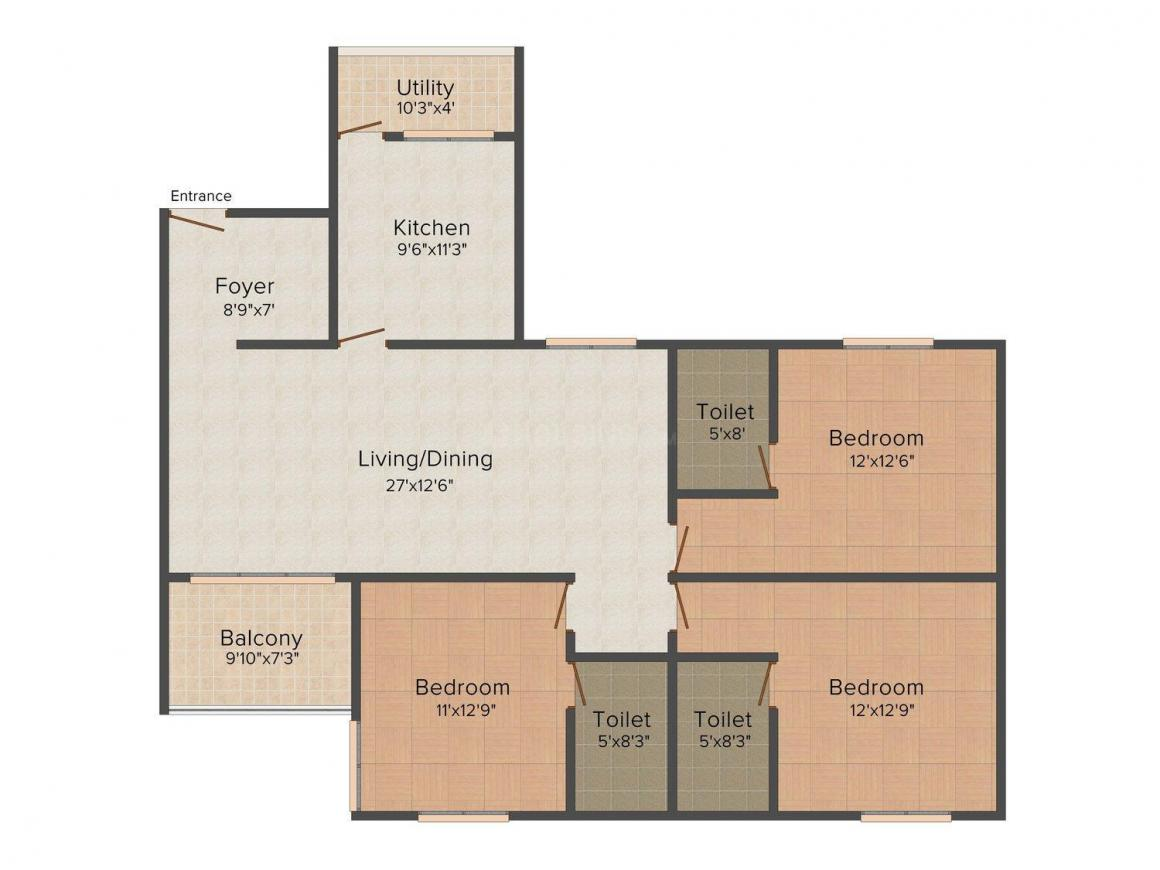 Floor Plan Image of 1465.0 - 1815.0 Sq.ft 2 BHK Apartment for buy in Arima The Summit