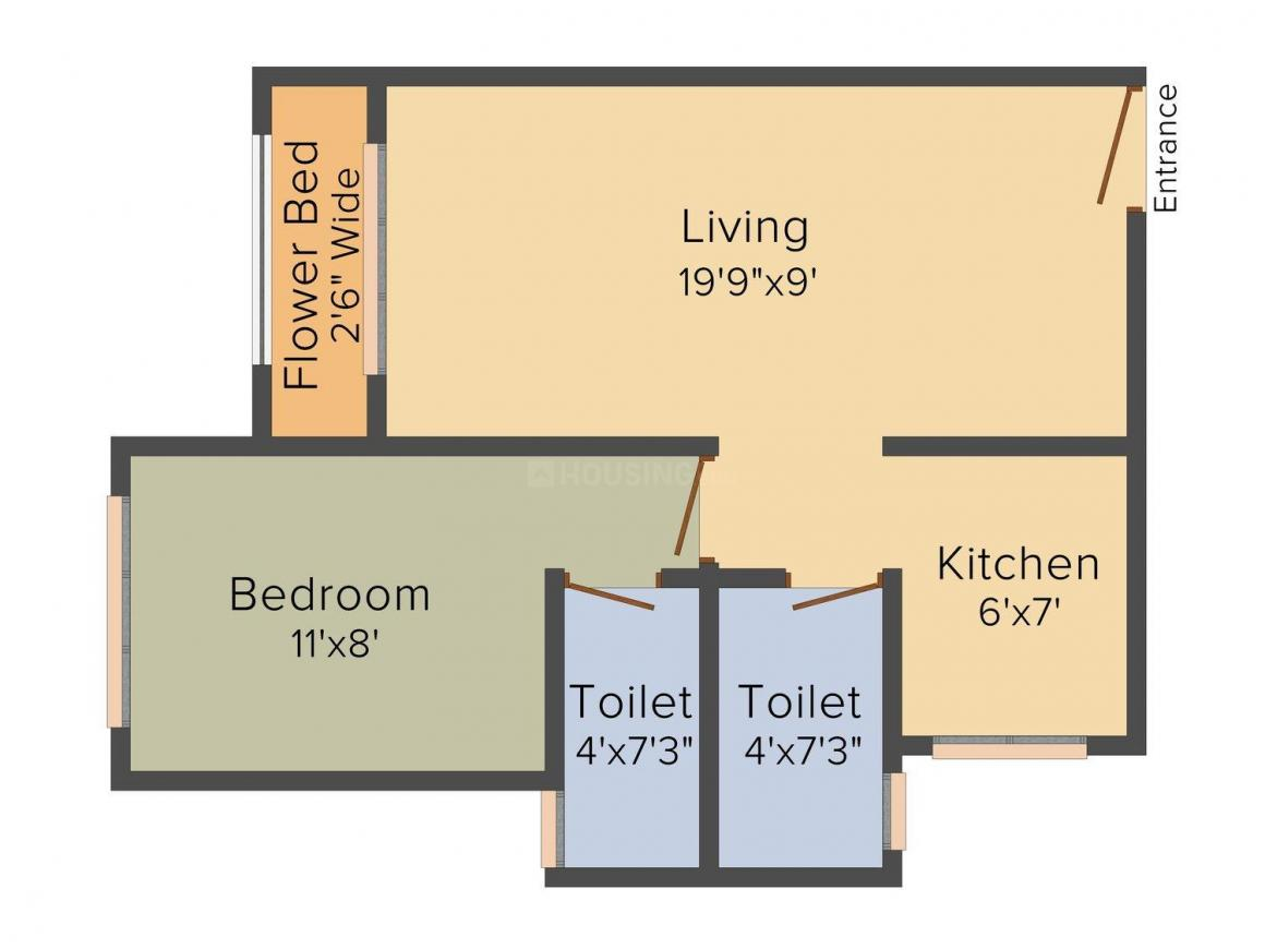 Floor Plan Image of 0 - 540 Sq.ft 1 BHK Apartment for buy in Oswal Lifespaces