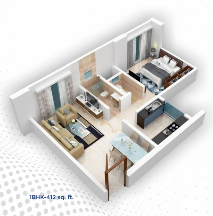 JE Corporate Park Floor Plan: 1 BHK Unit with Built up area of 412 sq.ft 1