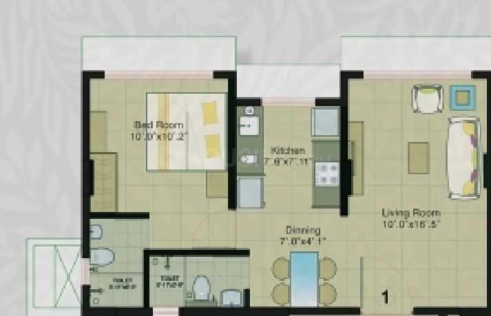 Kukreja Gardens Floor Plan: 1 BHK Unit with Built up area of 498 sq.ft 1