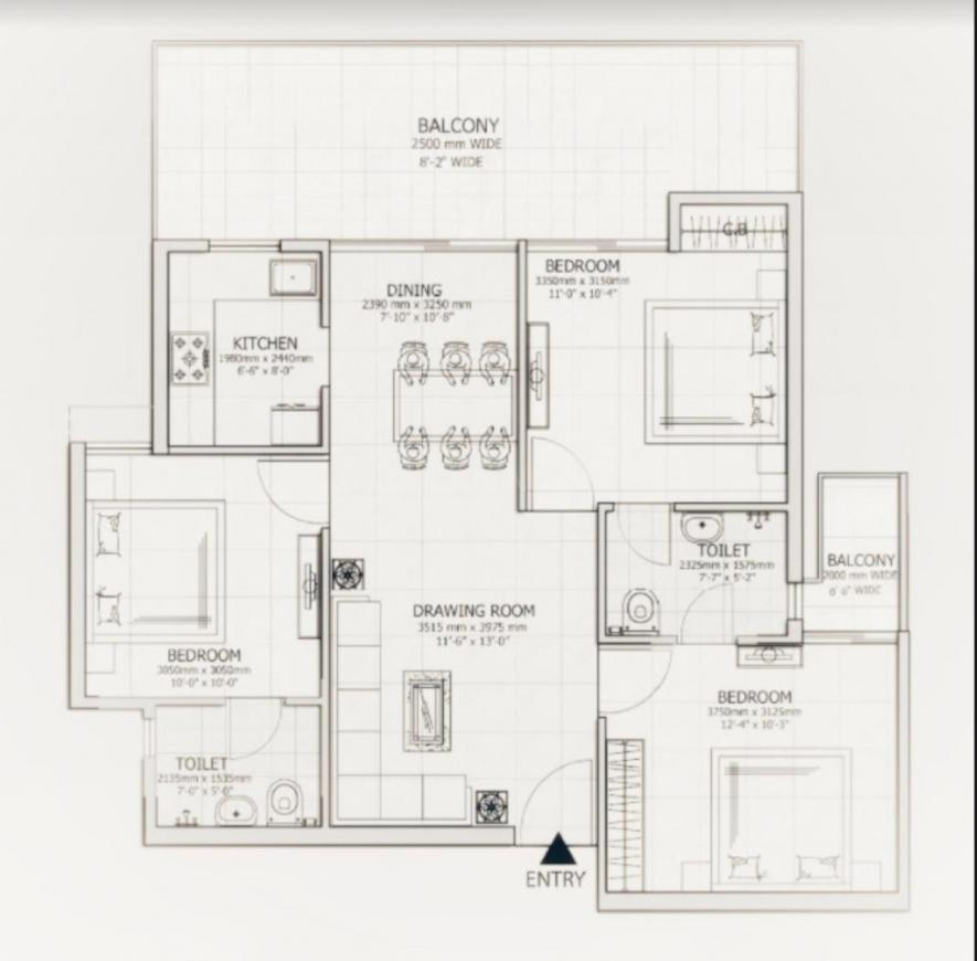 Purvey 12 Priyanath Floor Plan: 3 BHK Unit with Built up area of 1300 sq.ft 1