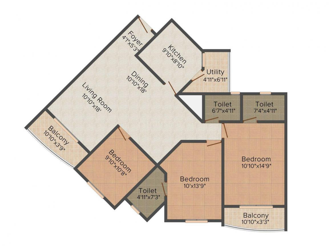 Floor Plan Image of 975.0 - 4985.0 Sq.ft 2 BHK Apartment for buy in Hoysala Infantry Towers
