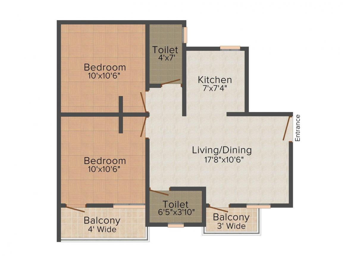 Madhuvishwa Floor Plan: 2 BHK Unit with Built up area of 762 sq.ft 1