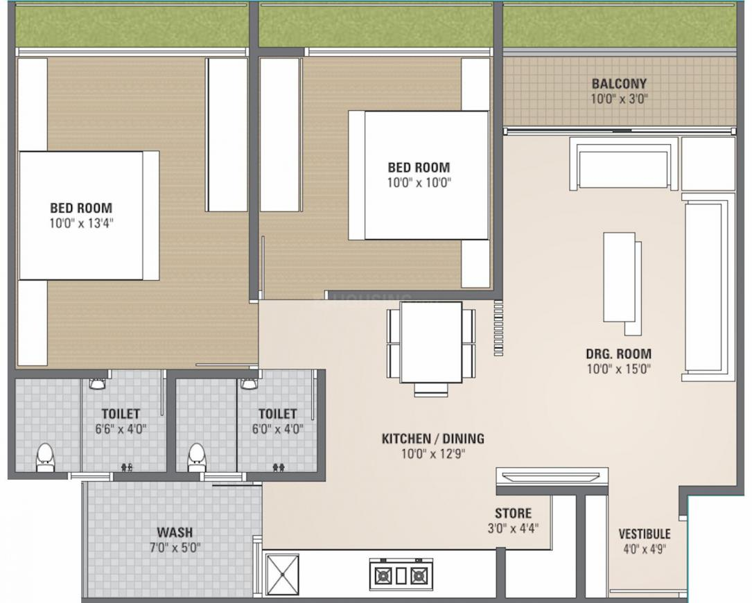 Gayatri Aries Heights Floor Plan: 2 BHK Unit with Built up area of 617 sq.ft 1