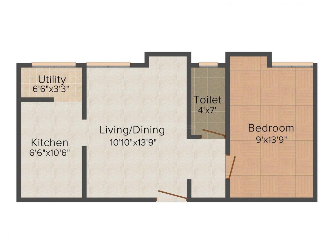Floor Plan Image of 400.0 - 790.0 Sq.ft 1 BHK Apartment for buy in Shree Sai Foundation - Noombal