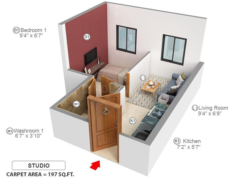 Marathon NeoHomes NeoSkies Floor Plan: 1 BHK Unit with Built up area of 197 sq.ft 1