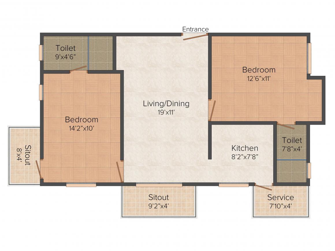 Floor Plan Image of 961 - 1460 Sq.ft 2 BHK Apartment for buy in Kgeyes Jeyselvams