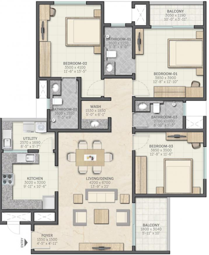 Sobha Metropolis Floor Plan: 3 BHK Unit with Built up area of 1800 sq.ft 1