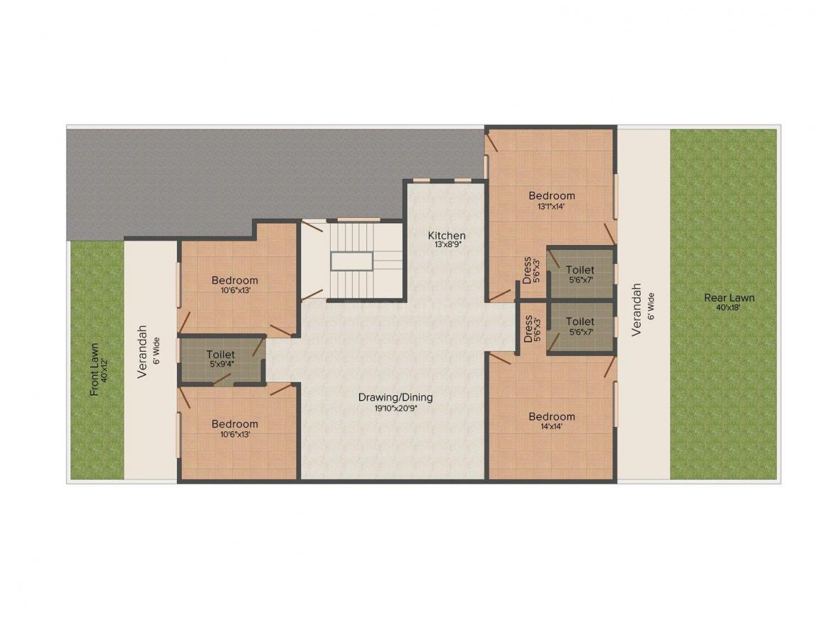 Buildwell Homes - 9 Floor Plan: 4 BHK Unit with Built up area of 2500 sq.ft 1