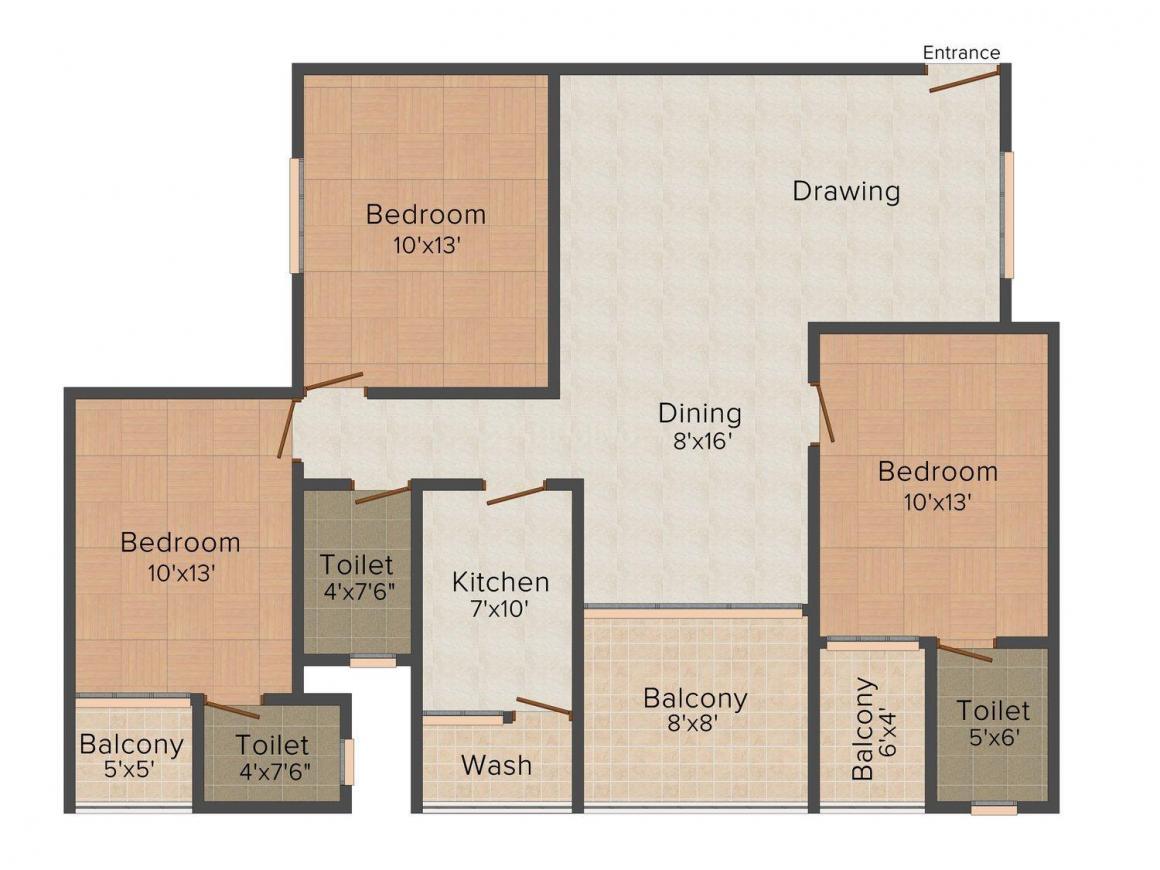 Floor Plan Image of 1534 - 1808 Sq.ft 2 BHK Apartment for buy in Muskan Gold