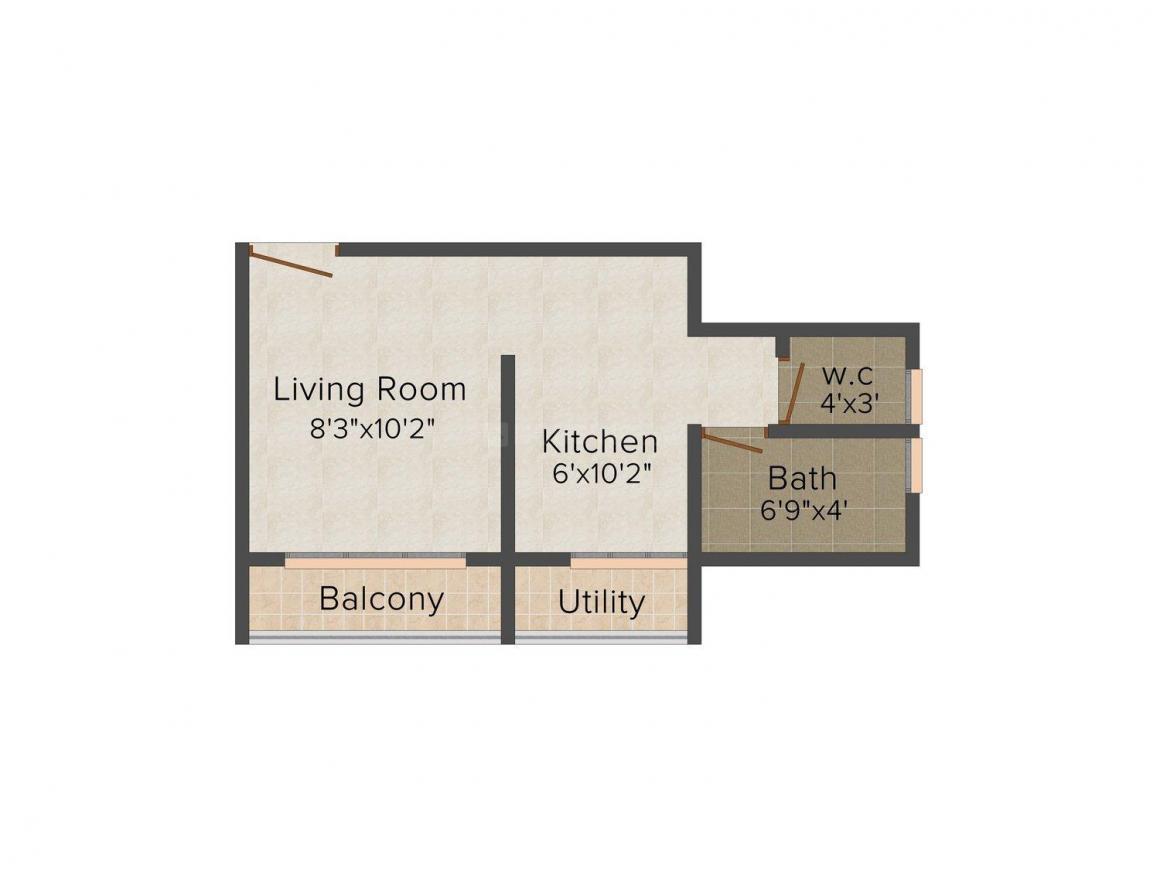 Floor Plan Image of 306 - 571 Sq.ft 1 RK Apartment for buy in Maa Vaishnodevi Shubharambha
