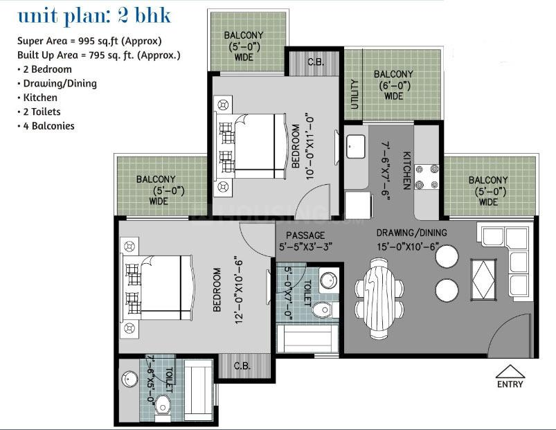 Arihant Ambar Floor Plan: 2 BHK Unit with Built up area of 995 sq.ft 1