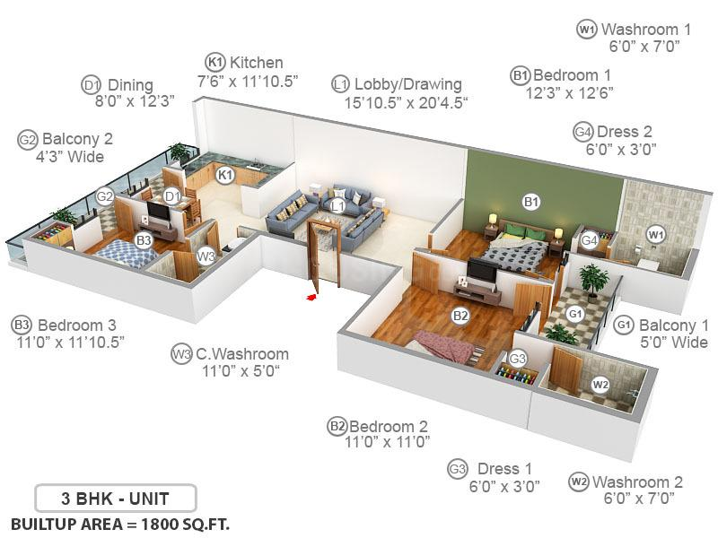 Richlook Affordable Luxury Floor Plan: 3 BHK Unit with Built up area of 1800 sq.ft 1