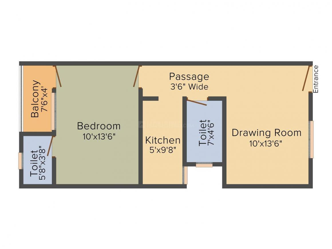 India Bricks Vintage Avenue Floor Plan: 1 BHK Unit with Built up area of 660 sq.ft 1