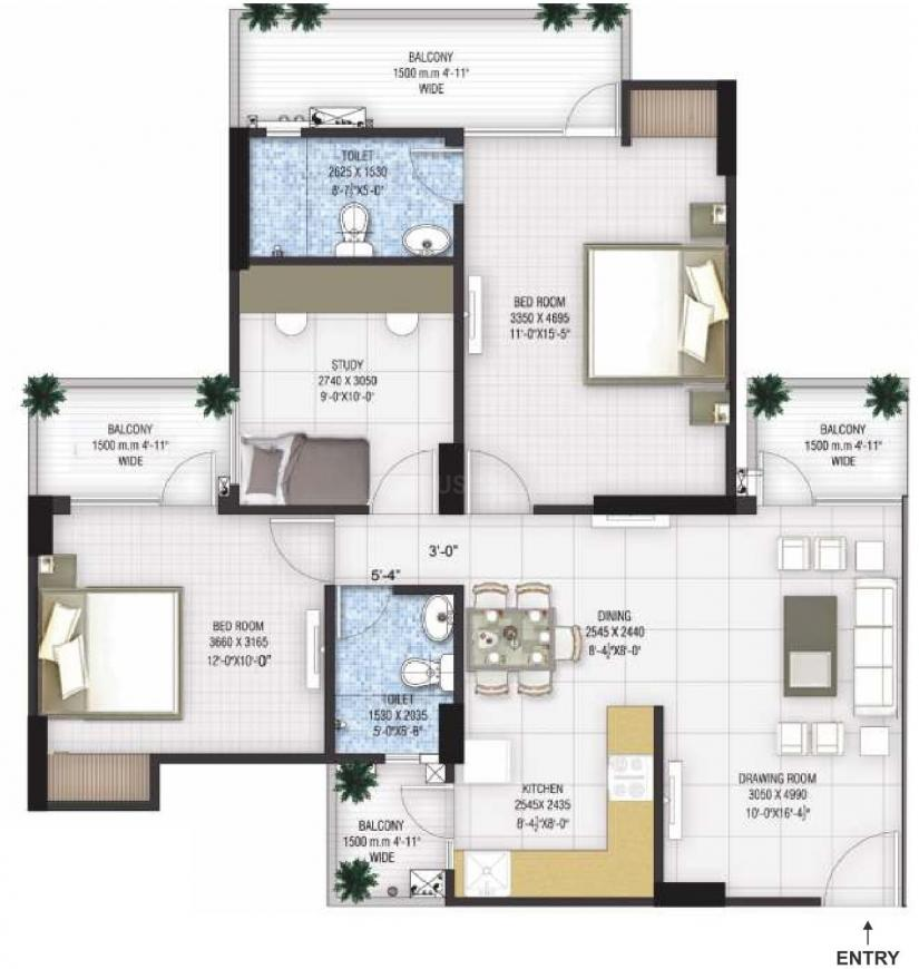 Panchsheel Greens 2 Floor Plan: 2 BHK Unit with Built up area of 1350 sq.ft 1