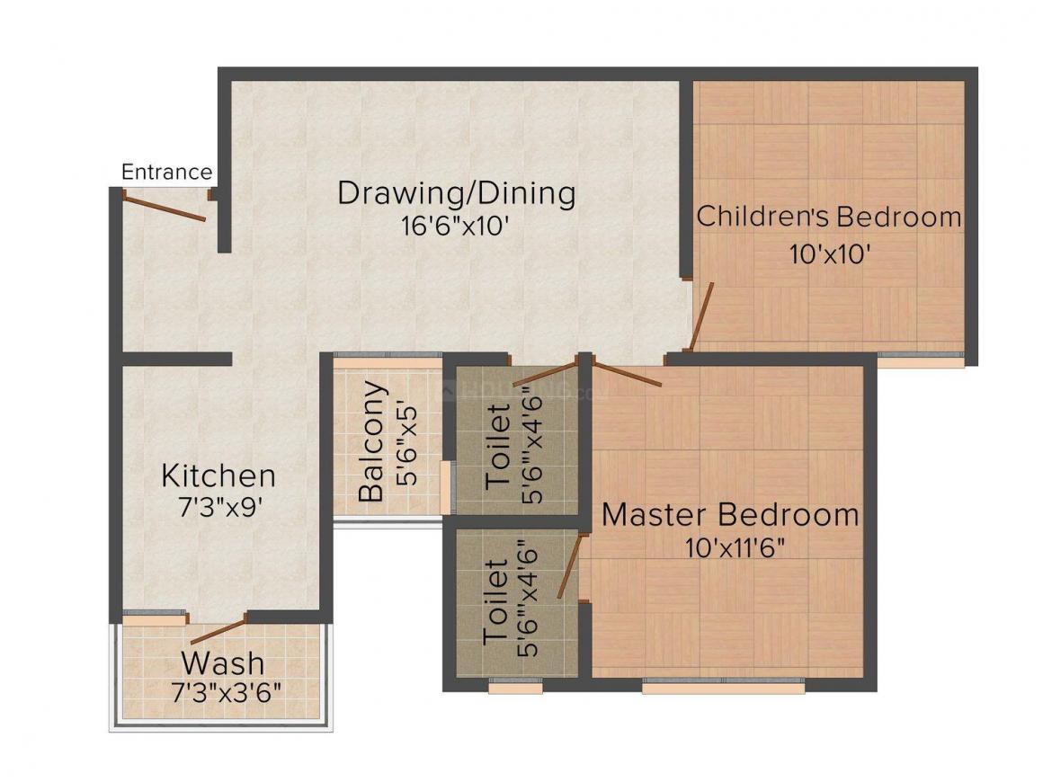 Floor Plan Image of 0 - 1062.0 Sq.ft 2 BHK Apartment for buy in Akshar Habitat