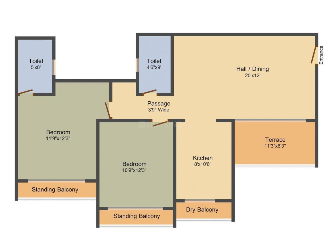 Floor Plan Image of 1150.0 - 1275.0 Sq.ft 2 BHK Apartment for buy in Siddham Silver Residency