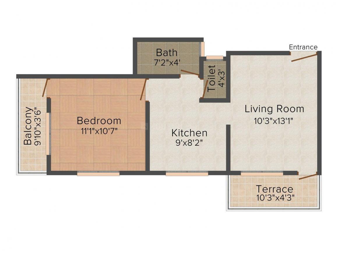 Floor Plan Image of 614.0 - 875.0 Sq.ft 1 BHK Apartment for buy in Laxmi Vatsalya Heights