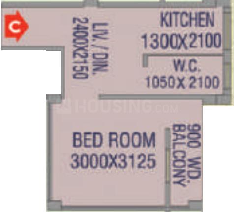Gangotri Pratistha Exotica Floor Plan: 1 BHK Unit with Built up area of 411 sq.ft 1