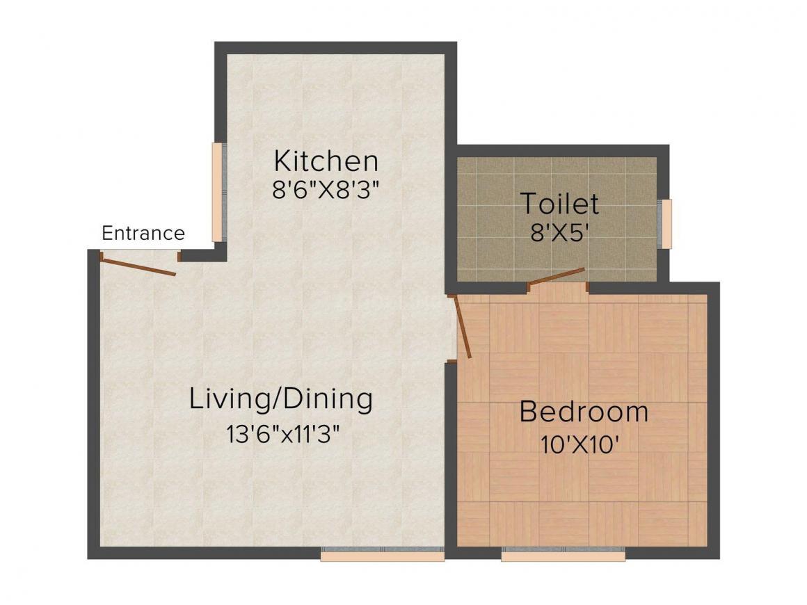Shree Balaji Asha Residency Floor Plan: 1 BHK Unit with Built up area of 800 sq.ft 1