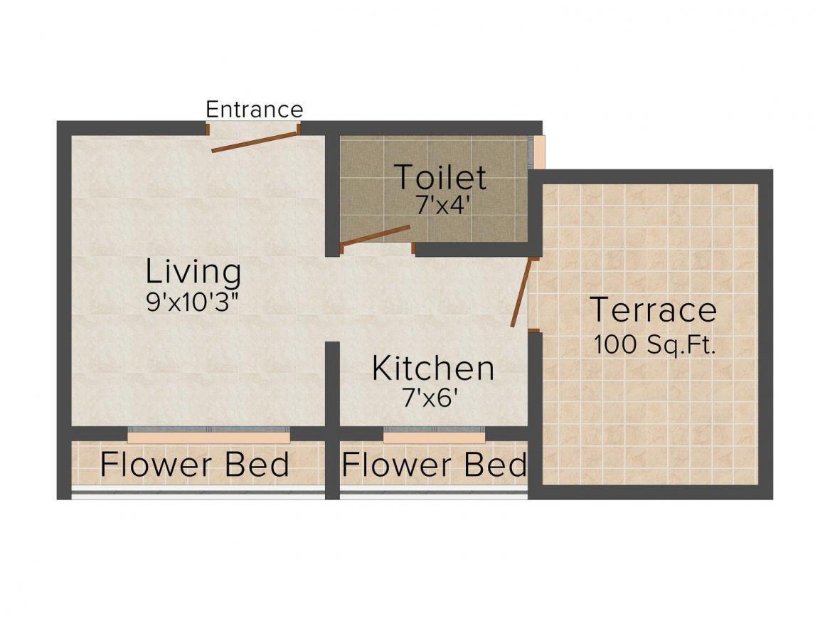 Floor Plan Image of 450 - 575 Sq.ft 1 RK Apartment for buy in Sai Pushp Apartment
