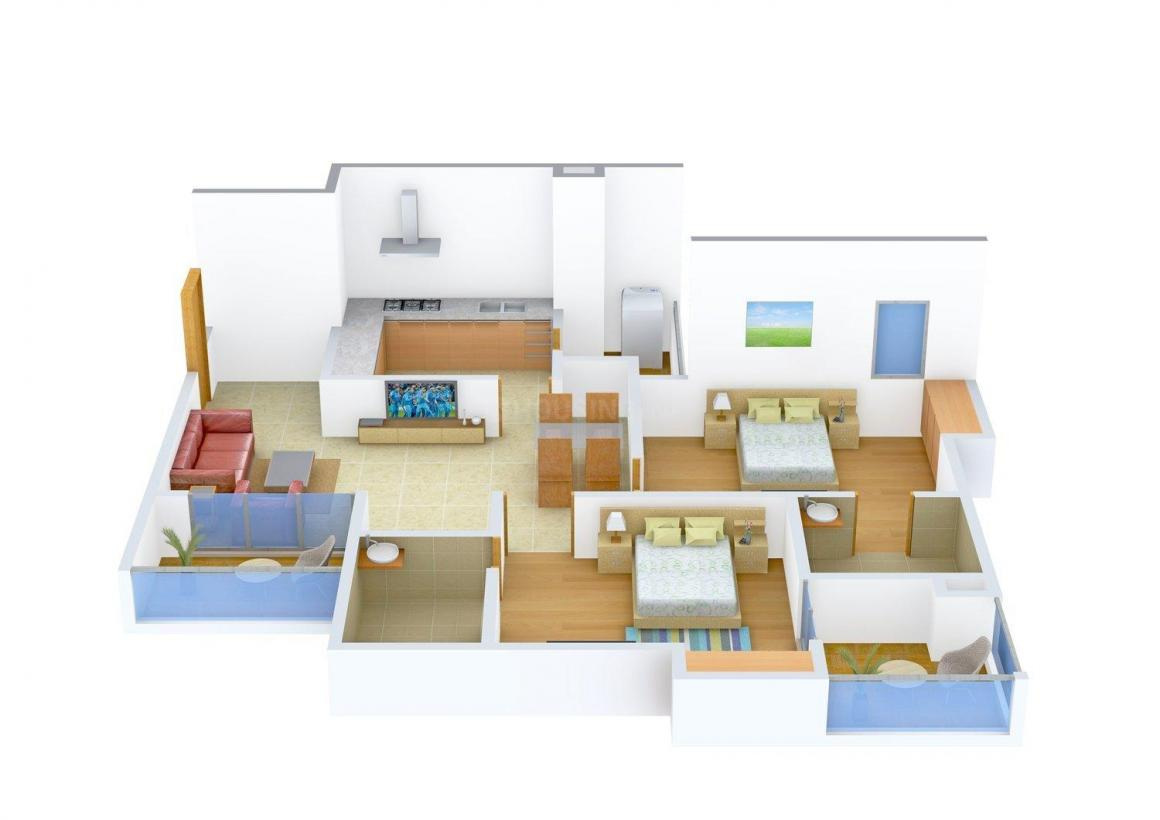 Floor Plan Image of 1298 - 1585 Sq.ft 2 BHK Apartment for buy in Southern Investments Bedford Enclave Apartments