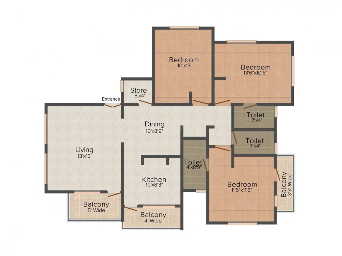 Floor Plan Image of 0 - 1100 Sq.ft 3 BHK Apartment for buy in Renuka Sai X